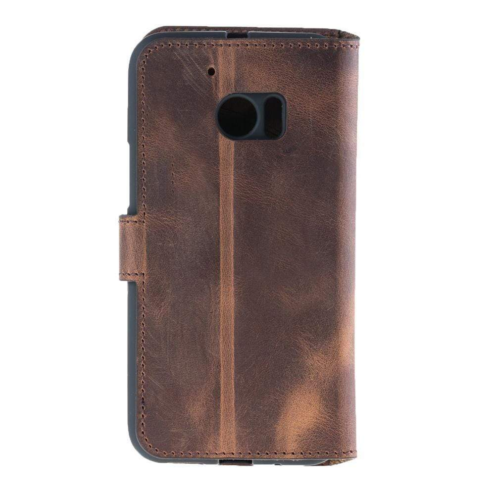 Phone Case Wallet Folio Leather Case with ID slot for HTC10 -  Antic Brown Bouletta Case