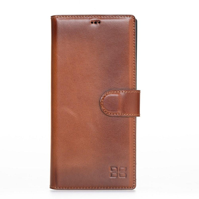 Phone Case Wallet Folio Leather Case with ID slot for Samsung Galaxy Note 10 Plus -  Rustic Tan with Effect Bouletta Case