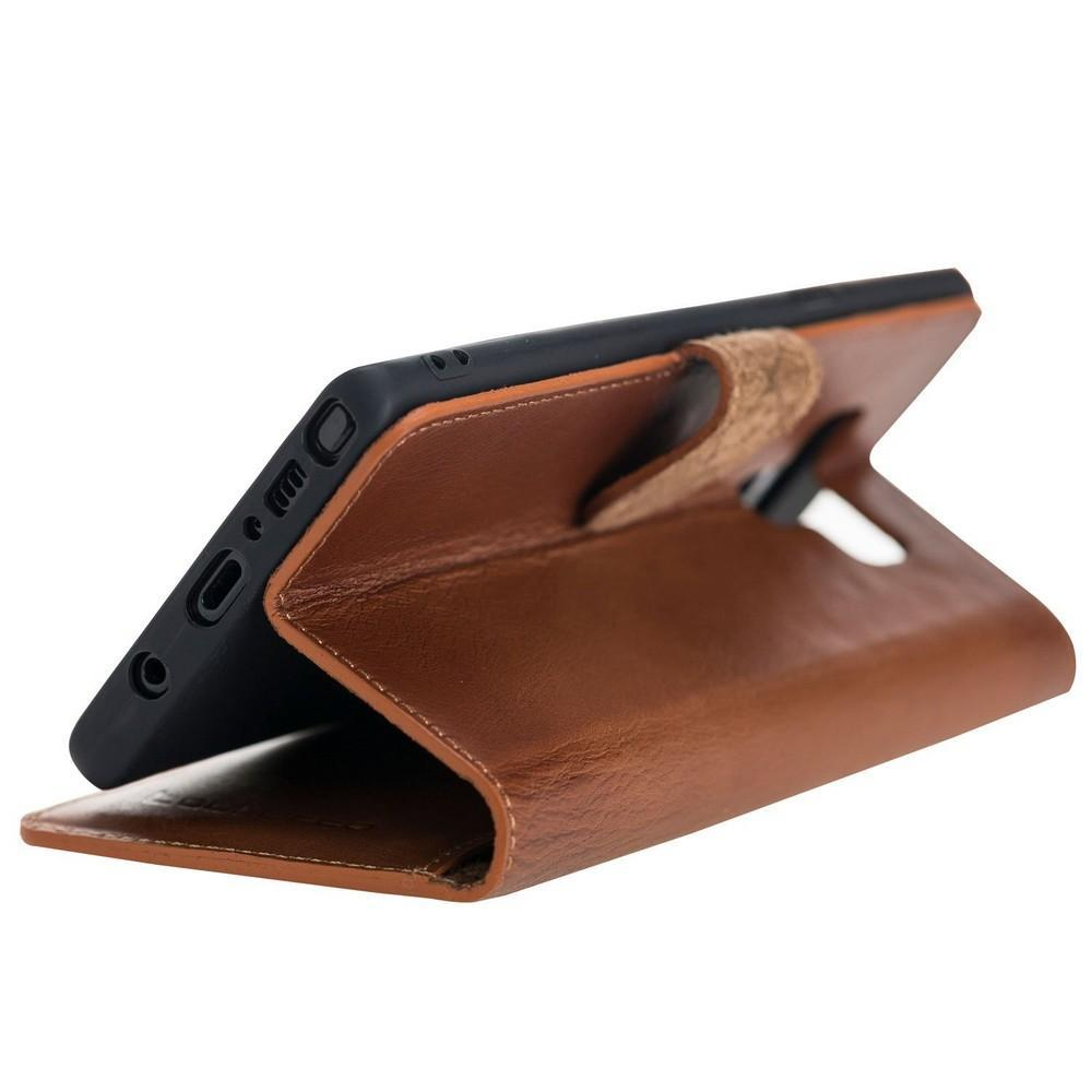 Phone Case Wallet Folio Leather Case with ID slot for Samsung Galaxy Note 9 - Rustic Tan with Effect Bouletta Case