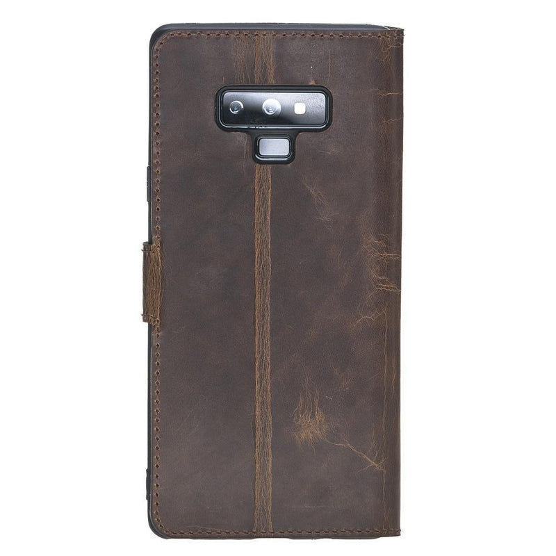 Phone Case Wallet Folio Leather Case with ID slot for Samsung Galaxy Note 9 - Vegetal Dark Brown Bouletta Case