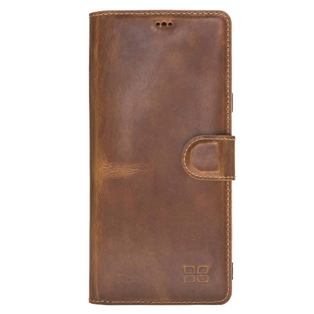 Phone Case Wallet Folio Leather Case with ID slot for Samsung Galaxy Note 9 - Vegetal Tan Bouletta Case