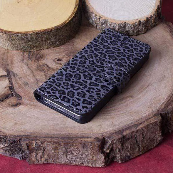 Phone Case Wallet Leather Case for Apple iPhone 5/5S/SE - Printed Grey&Black Bouletta Case