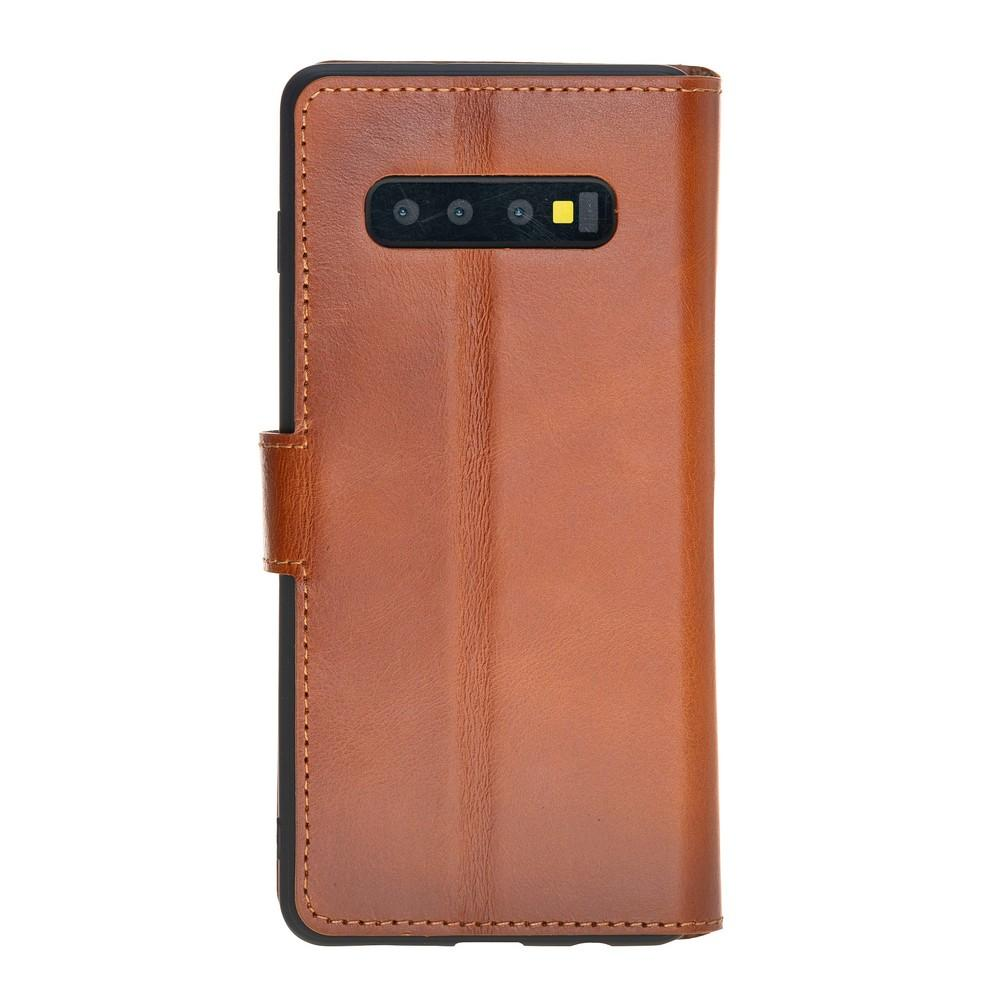 Phone Case Wallet Leather Case for Samsung S10 Plus - Rustic Tan with Effect Bouletta Case