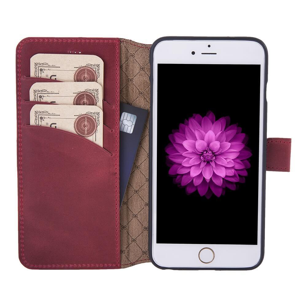 Phone Case Wallet Leather Case New Edition with ID slot for Apple iPhone 6/6 Plus - Crazy Red Bouletta Case