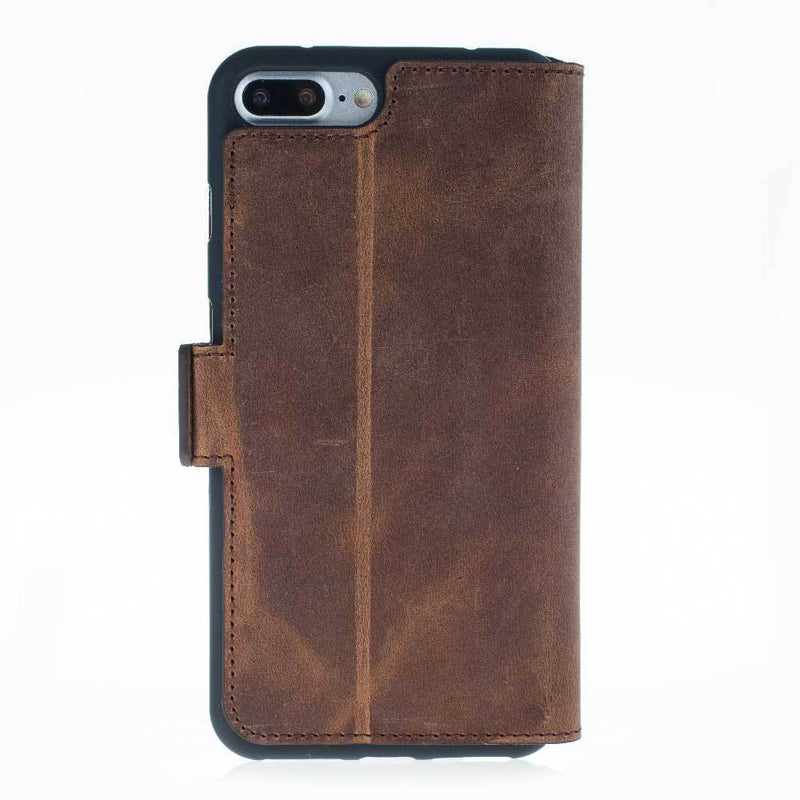 Phone Case Wallet Leather Case New Edition with ID slot for Apple iPhone 7/8 Plus - Antic Brown Bouletta Case