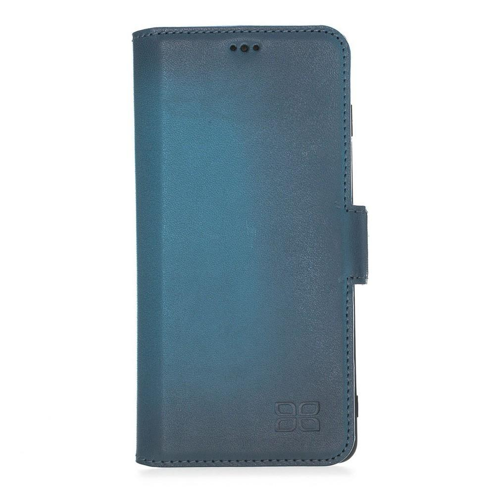 Phone Case Wallet Leather Case New Edition with ID slot for Samsung S10 Plus - BRN Burnished Navy Blue Bouletta Case