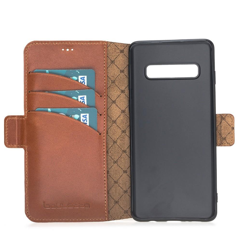 Phone Case Wallet Leather Case New Edition with ID slot for Samsung S10 Plus - Rustic Tan with Effect Bouletta Case