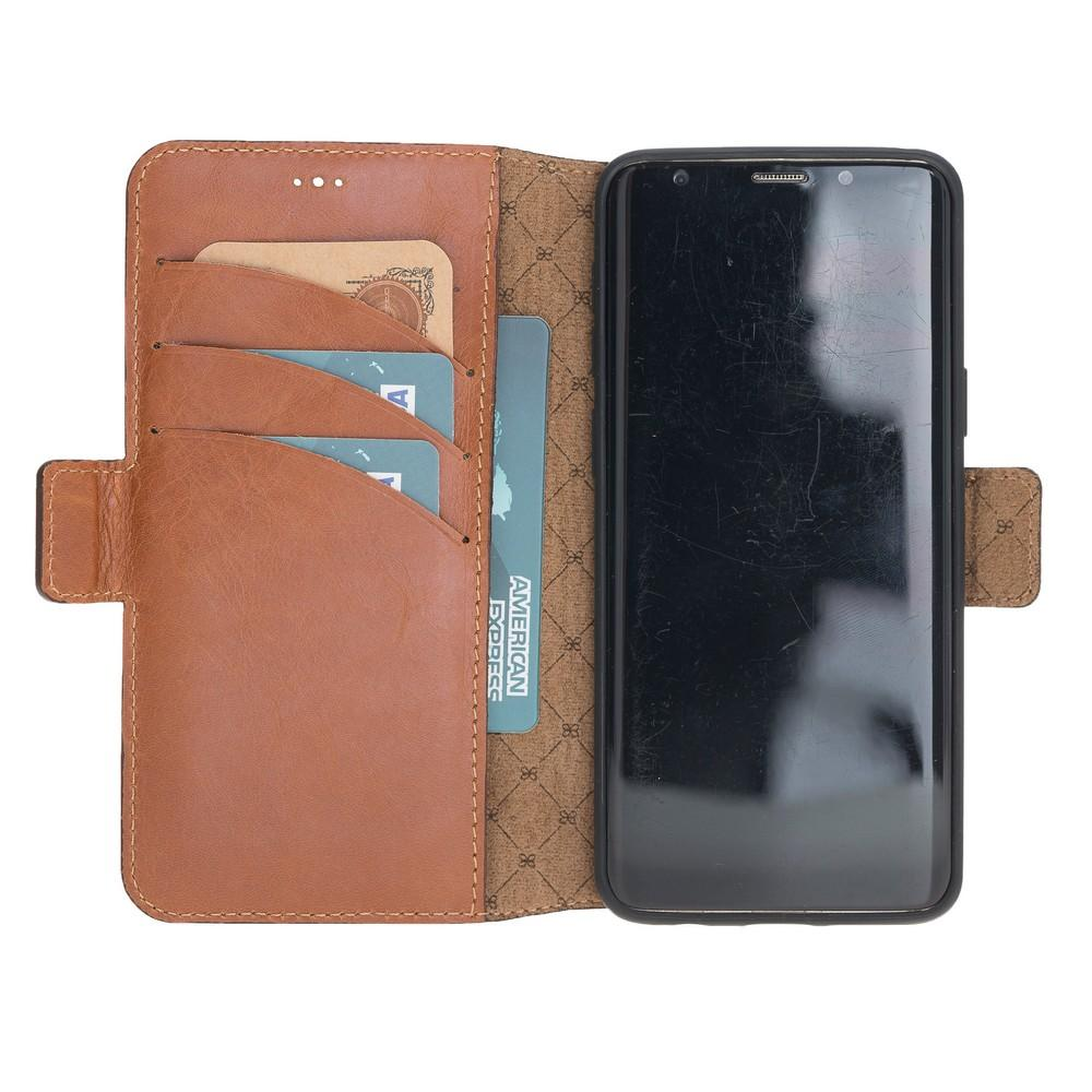 Phone Case Wallet Leather Case New Edition with ID slot for Samsung S9 - Rustic Tan with Effect Bouletta Case