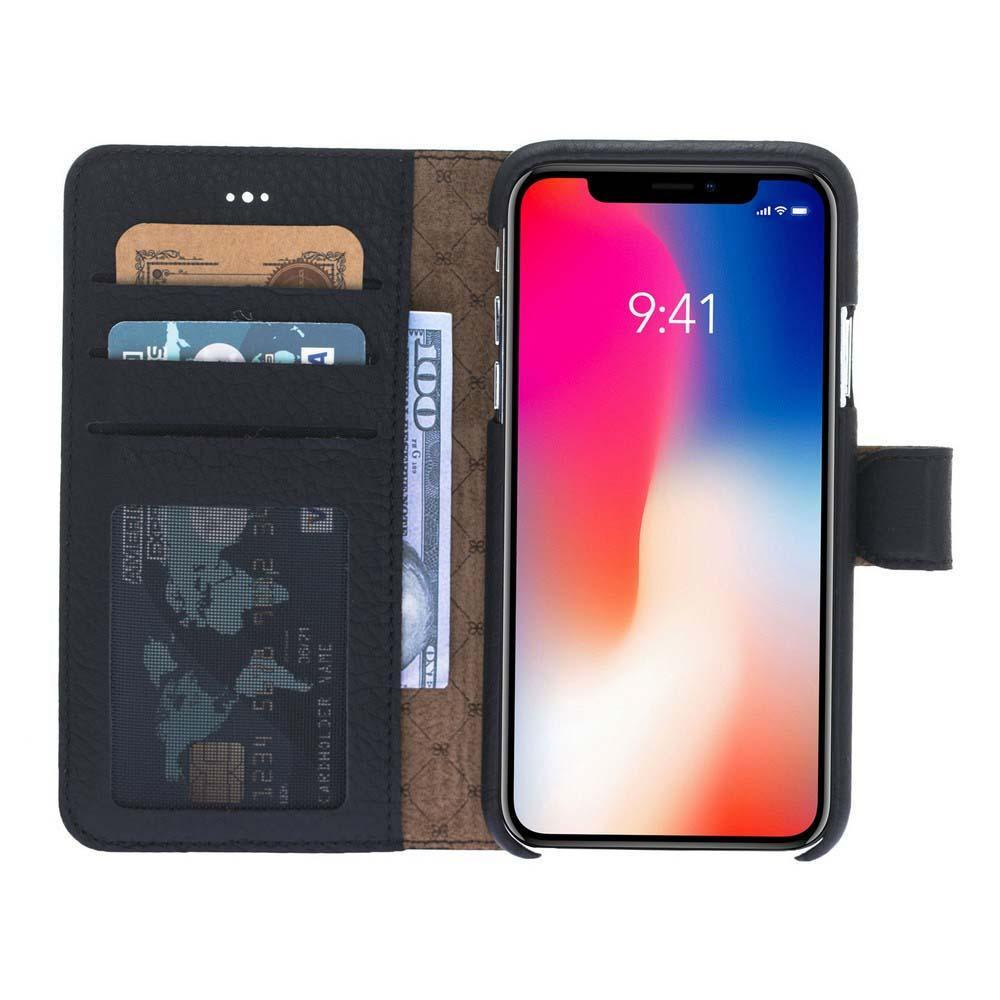 Wallet Case F360 Magnetic Detachable Leather Wallet Case for Apple iPhone X/XS - Floater Black Bouletta Shop
