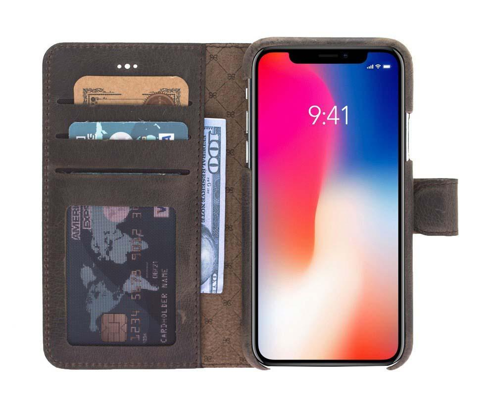 Wallet Case F360 Magnetic Detachable Leather Wallet Case for Apple iPhone X/XS - Rome Brown Bouletta Shop