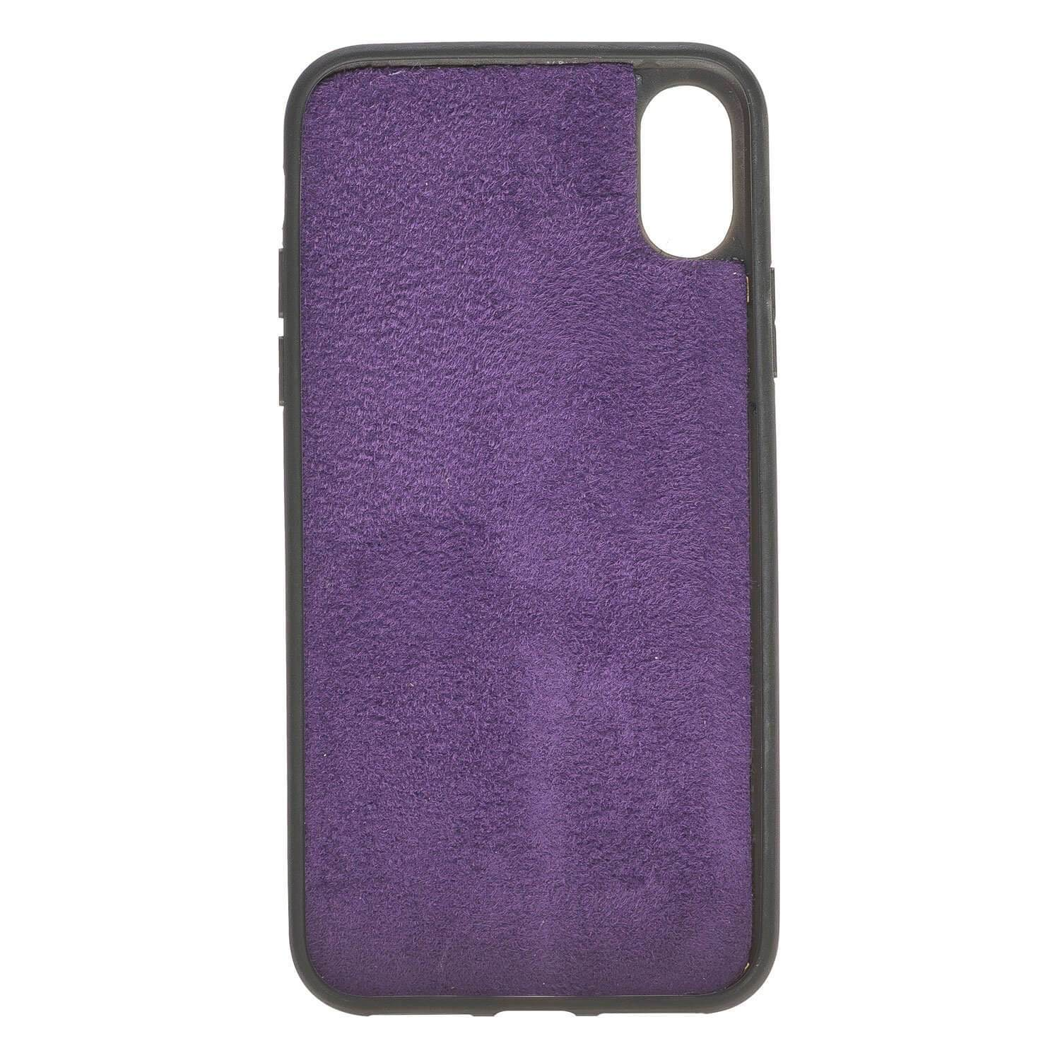 Wallet Case Magnetic Detachable Leather Wallet Case for Apple iPhone X/XS - Creased Purple Bouletta Case