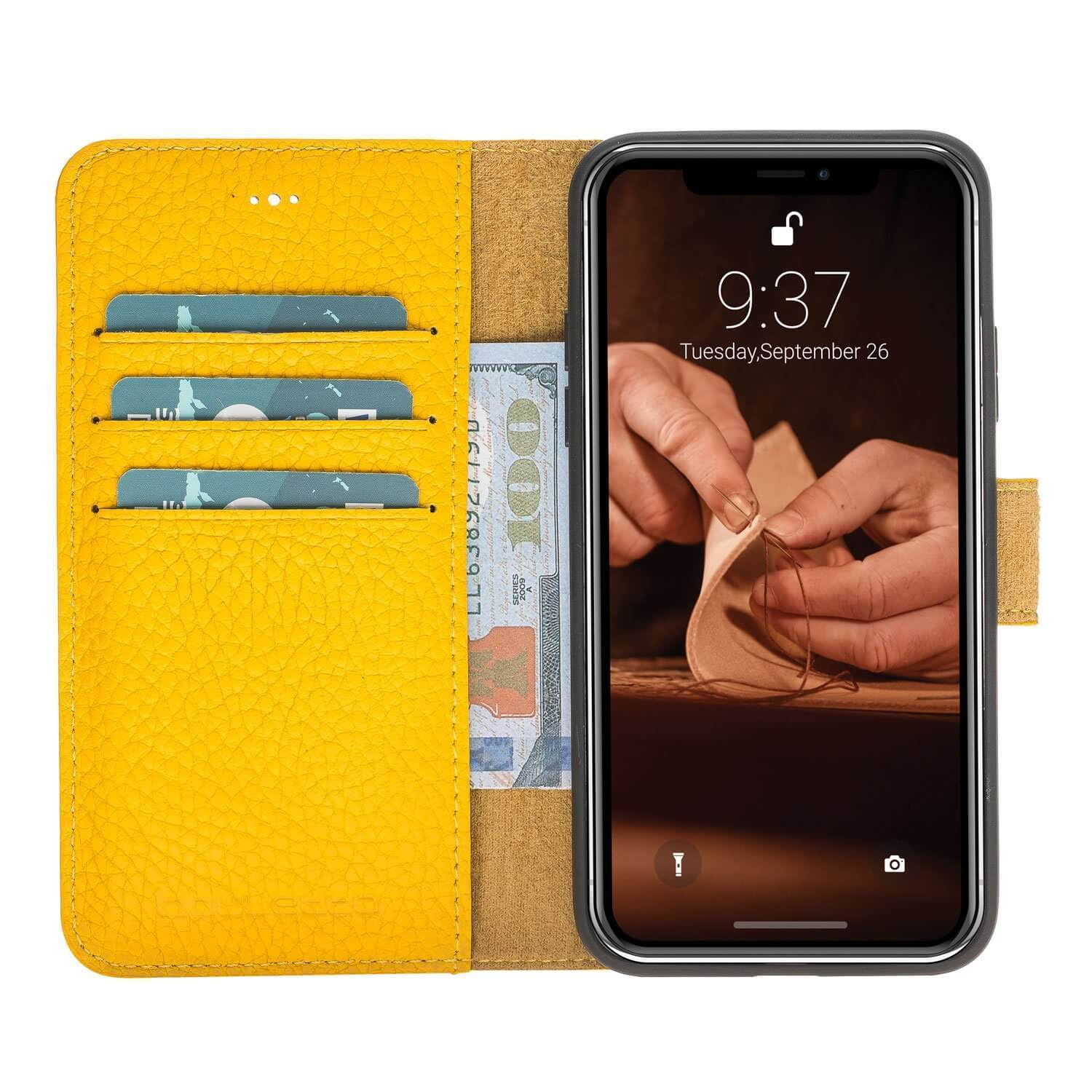 Wallet Case Magnetic Detachable Leather Wallet Case for Apple iPhone X/XS - Floater Yellow Bouletta Case
