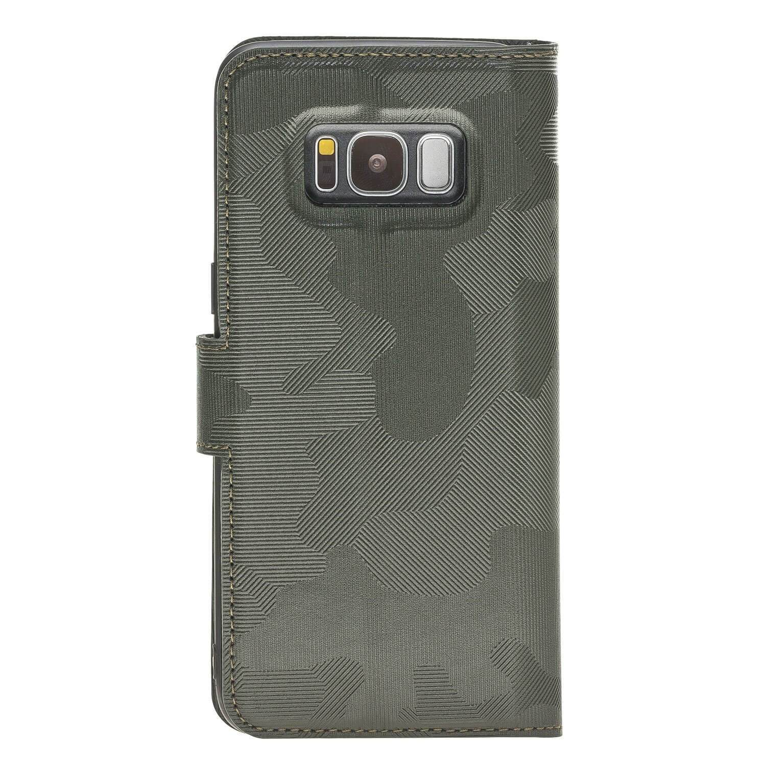 Wallet Case Magnetic Detachable Leather Wallet Case for Samsung S8 - Camouflage Green Bouletta Case