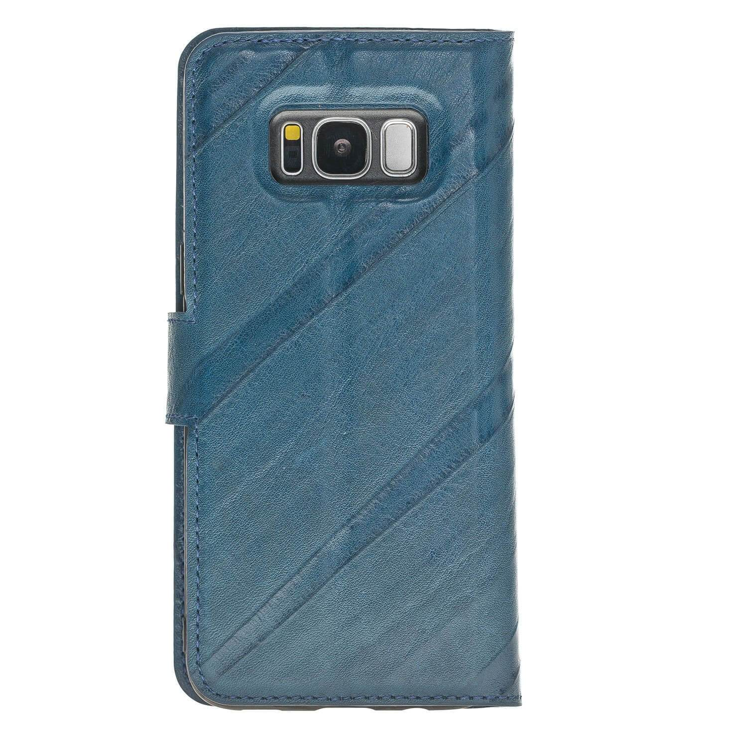 Wallet Case Magnetic Detachable Leather Wallet Case for Samsung S8 - Creased Blue Bouletta Case