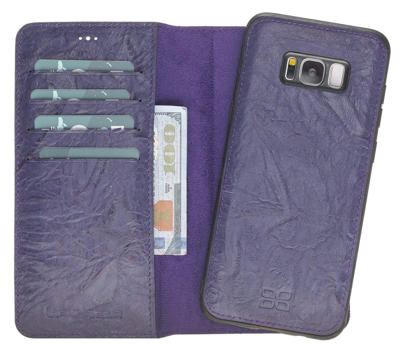 Wallet Case Magnetic Detachable Leather Wallet Case for Samsung S8 Plus - Creased Purple Bouletta Case