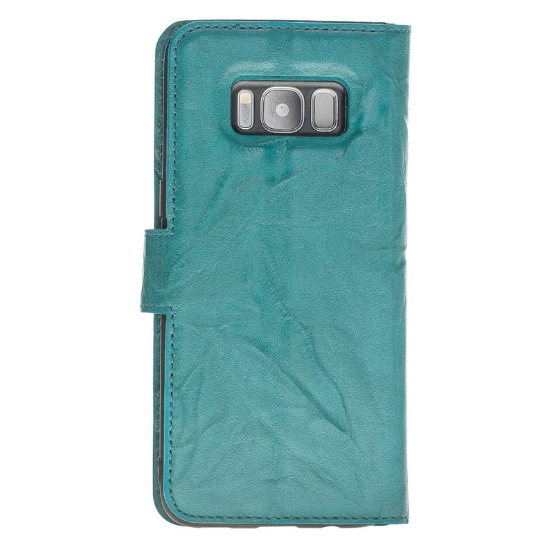 Wallet Case Magnetic Detachable Leather Wallet Case for Samsung S8 Plus - Creased Turquoise Bouletta Case