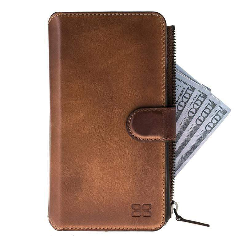 Wallet Case Zip Magnetic Detachable Leather Wallet Case  2 in 1 for Apple iPhone 7/8 Plus - Rustic Burnished Tan Bouletta Case