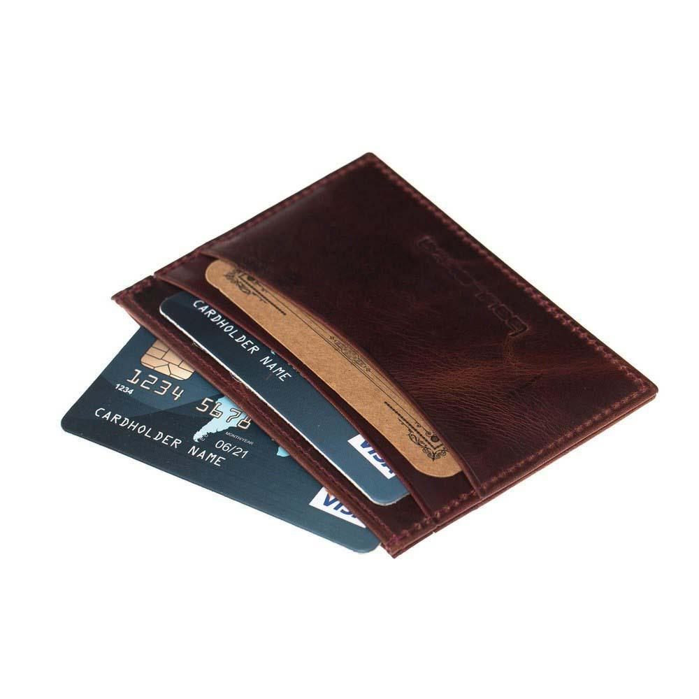 Wallet Classic Slim Leather Credit Card Wallet - Vegetal Bordeaux Bouletta Shop