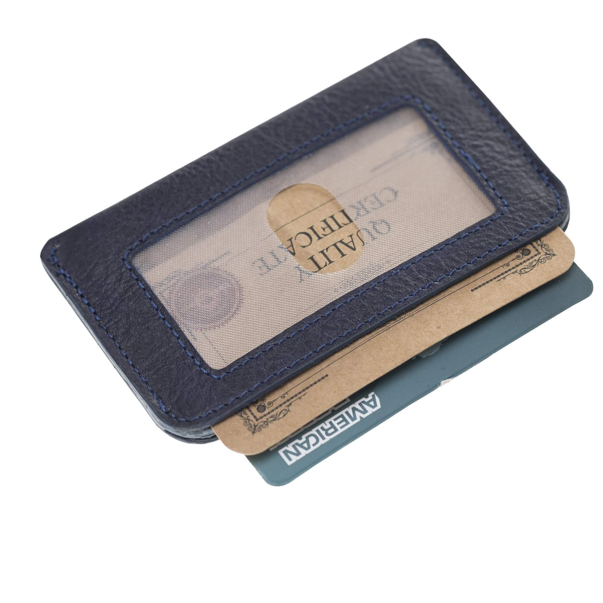 Wallet Minima Leather Card Holder With RFID Blocker-Vegetal Navy Blue Bouletta Case