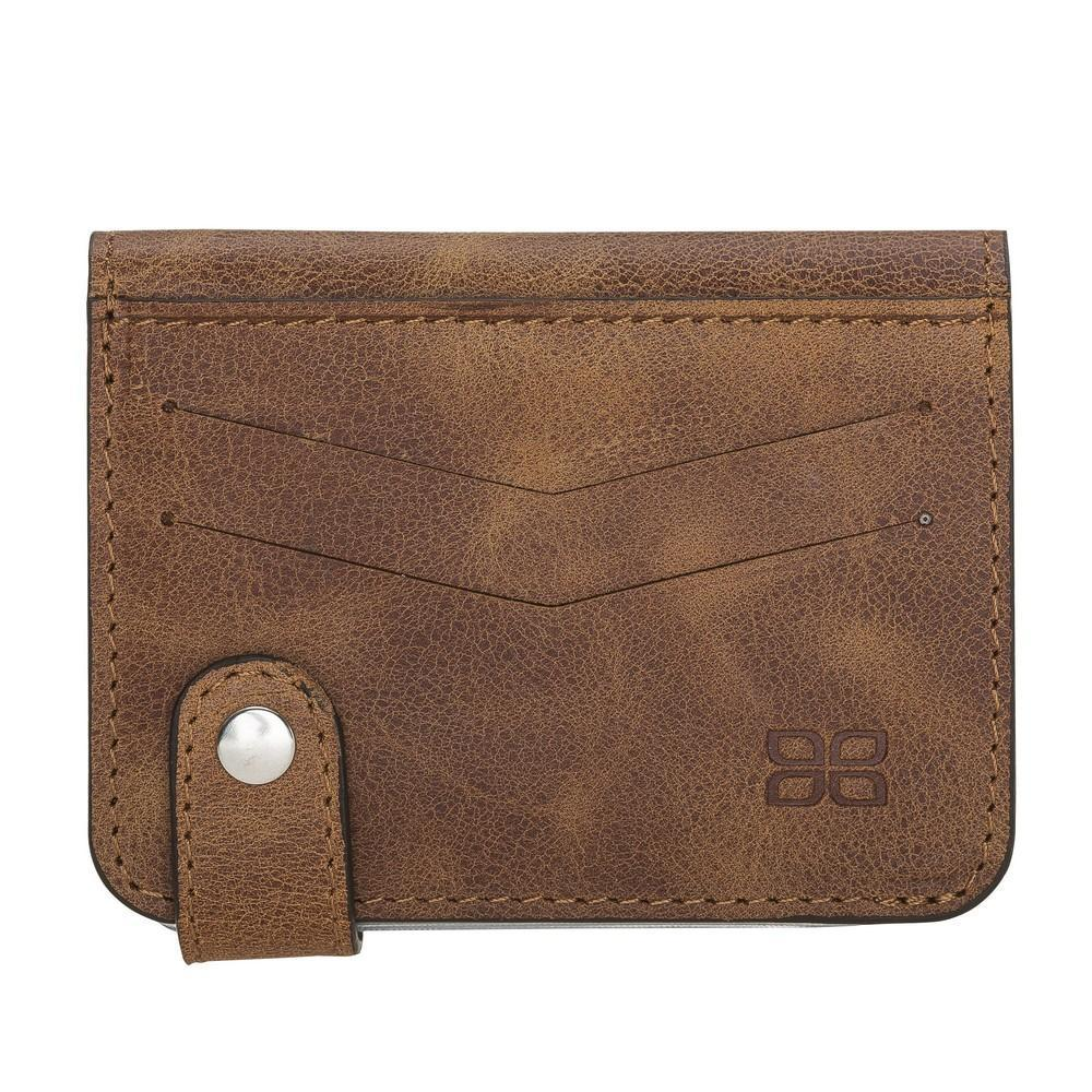Wallet Oscar Leather Card Holder Wallet - Tiguan Tan with Vein Bouletta Case