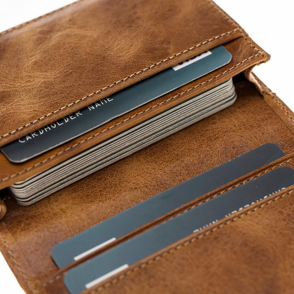 Wallet Tale Leather Credit Card Holder - Vegetal Tan with Vein Bouletta Case