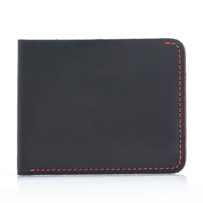 Wallet Two Color Thin Leather Wallet - Black Red Bouletta Case
