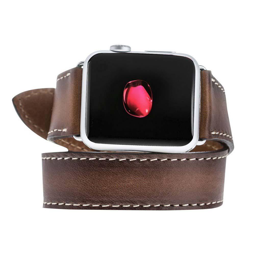 Watch Band Double Tour Leather Watch Strap for Apple Watch 38mm / 40 mm - Rustic Tan with Effect Bouletta Shop