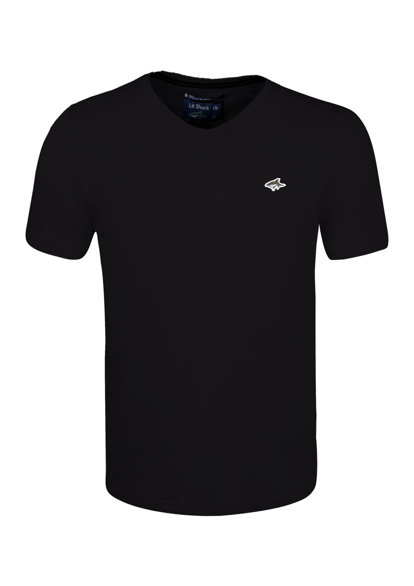 V NECK T SHIRT - JERSEY - BLACK