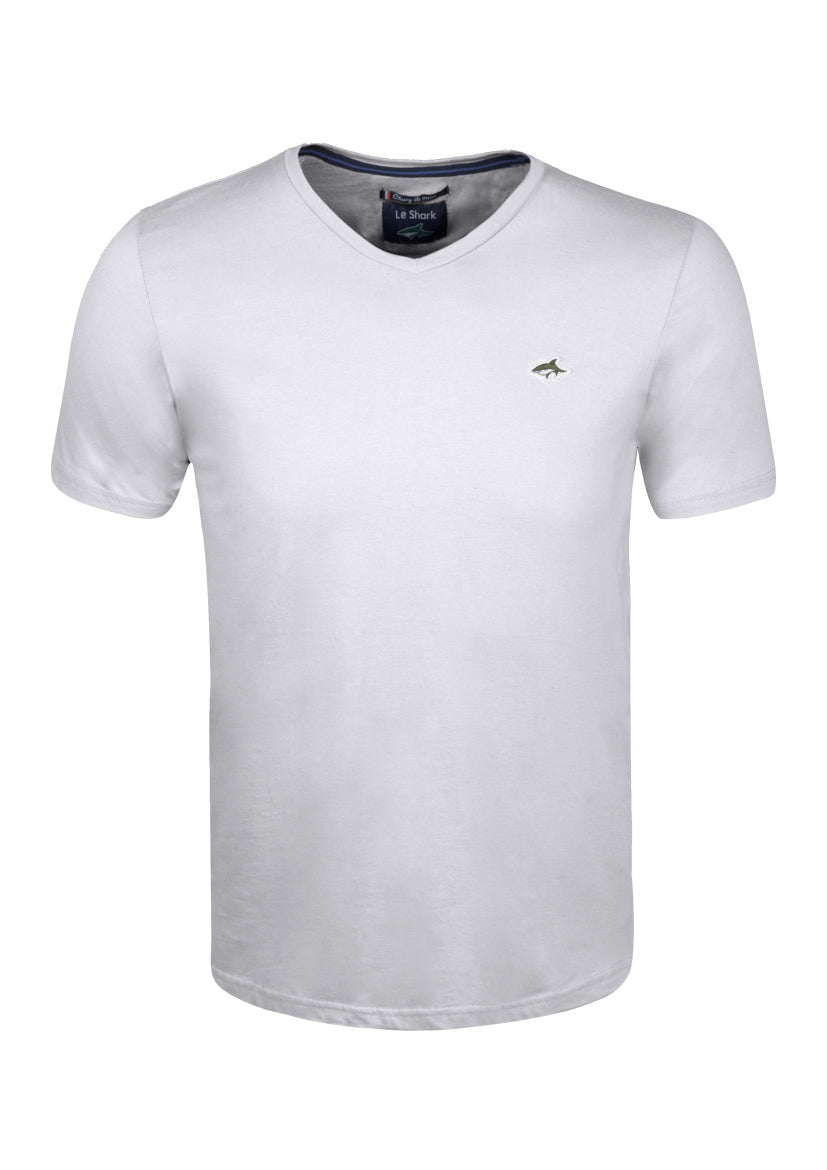 V NECK T SHIRT - JERSEY - WHITE