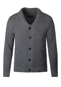 Chunky Jumper Knitwear Shawl Collar Cardigan Loose Fit Grey
