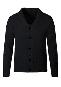 Chunky Jumper Knitwear Shawl Collar Cardigan Loose Fit Black