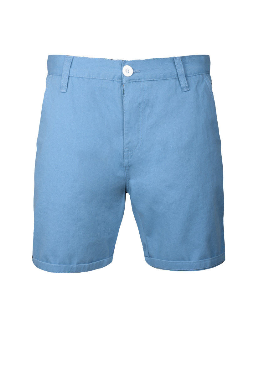 MENS CHINO SHORTS BRAVE SOUL COTTON TWILL BLUE