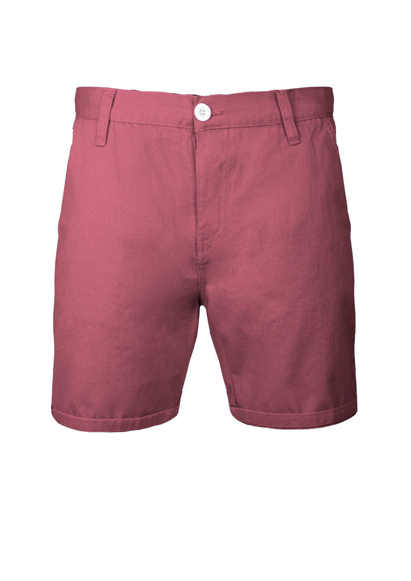 MENS CHINO SHORTS BRAVE SOUL COTTON TWILL WINE