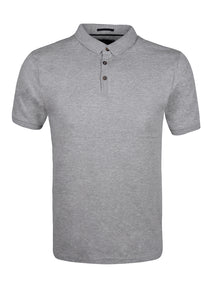 PLAIN POLO TOP - GREY