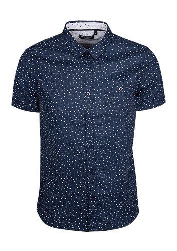 SHORT SLEEVE SHIRT WITH CIRCLE PRINT - NAVY