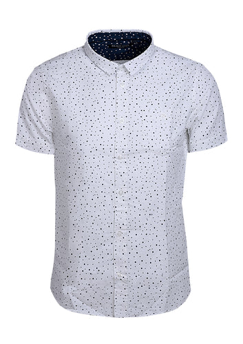 SHORT SLEEVE SHIRT WITH CIRCLE PRINT - WHITE