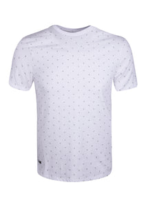 CREW NECK T SHIRT WITH PINEAPPLE PRINT - WHITE