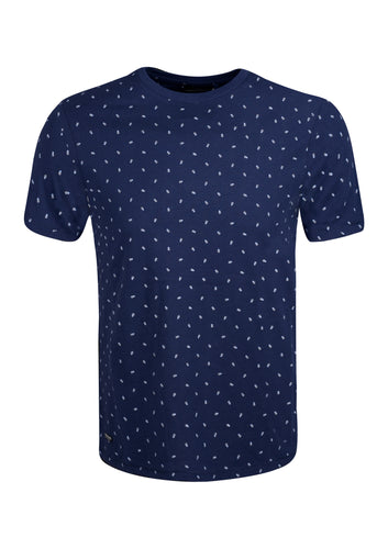CREW NECK T SHIRT WITH PINEAPPLE PRINT - NAVY