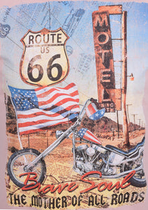 "CREW NECK T SHIRT WITH ""ROUTE 66"" PRINT - PINK"
