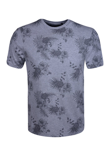 CREW NECK T SHIRT WITH FLOWERS PRINT - GREY