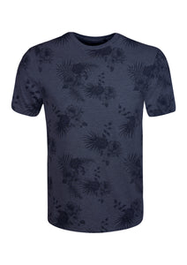 CREW NECK T SHIRT WITH FLOWERS PRINT - NAVY