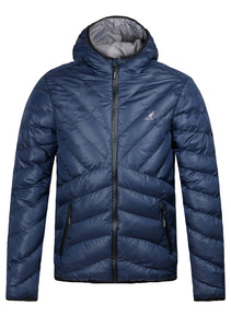 KANGOL MEN'S GALLIA HOODED PADDED PUFFER JACKET NAVY