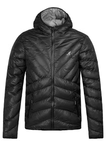 KANGOL MEN'S GALLIA HOODED PADDED PUFFER JACKET BLACK