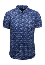 SHORT SLEEVE SHIRT WITH FLAMINGO/ PALM TREE PRINT; NAVY
