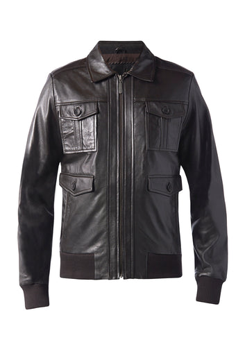 DREAMWEAVER LEATHER BOMBER JACKET BROWN