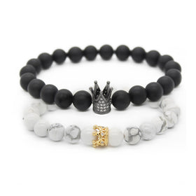 Couples Crown Stone Stacked Bracelet
