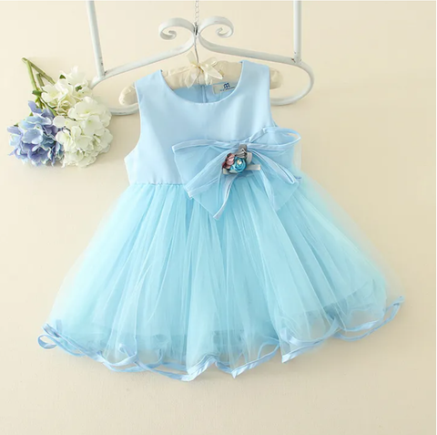 Blue Satin and Chiffon Flower Dress