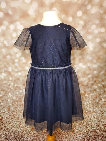 Midnight Blue Sequin and Sparkle Sleeve Dress