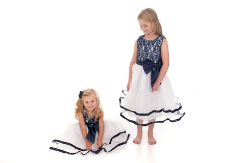 White and Navy Lace and Bow Detail Dress