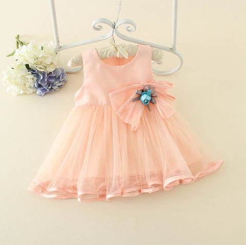 Pastel Satin and Chiffon Flower Dress